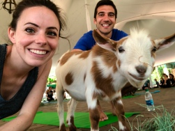 Brianna, Mike, and goat